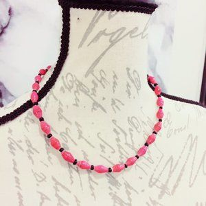 Pink Paper Beaded Necklace